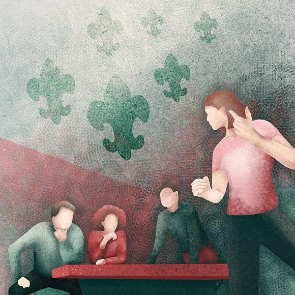 ilustracja wolontariusz podczas spotkania zespołu